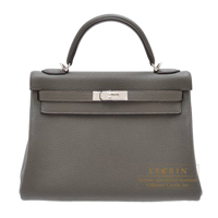 Hermes Kelly bag 32 Retourne Vert gris Clemence leather Silver hardware
