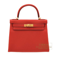 Hermes Kelly bag 28 Retourne Vermillon Togo leather Gold hardware