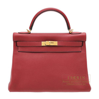Hermes Kelly bag 32 Retourne Rouge grenat Clemence leather Gold hardware