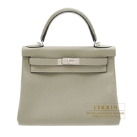 Hermes Kelly bag 28 Retourne Sauge Clemence leather Silver hardware