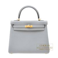 Hermes Kelly bag 25 Retourne Blue glacier Togo leather Gold hardware