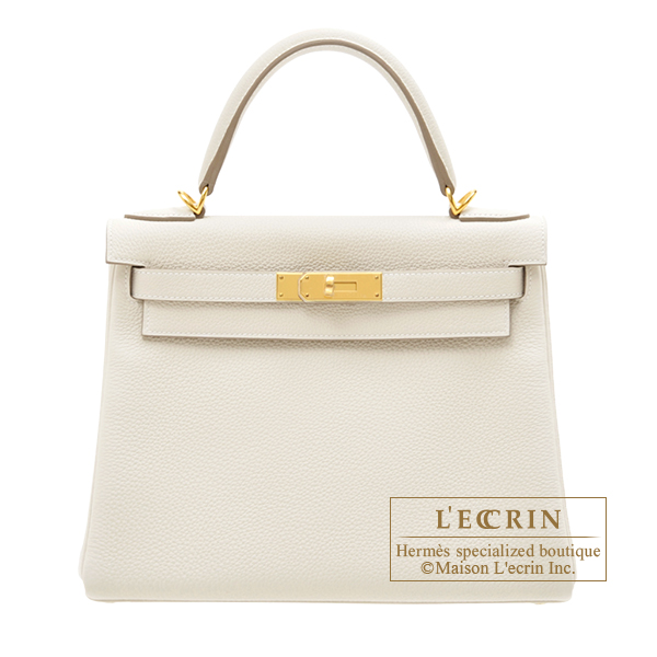 Hermes Kelly bag 28 Retourne Craie Togo leather Gold hardware