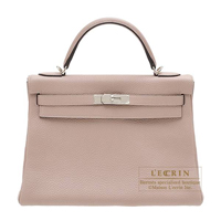 Hermes Kelly bag 32 Retourne Glycine Clemence leather Silver hardware