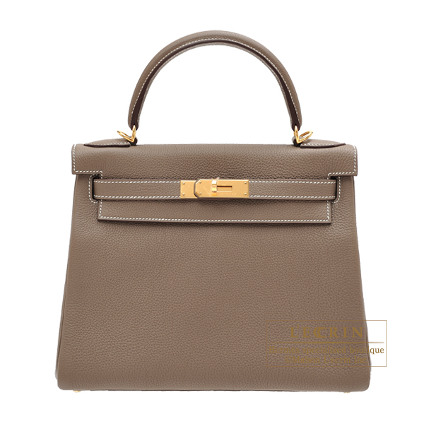 Hermes Kelly bag 28 Retourne Etoupe grey Togo leather Gold hardware