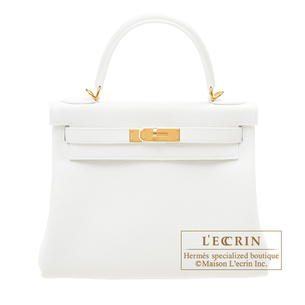 Hermes Kelly bag 28 Retourne White Clemence leather Gold hardware