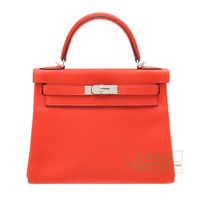 Hermes Kelly bag 28 Retourne Rouge tomate Clemence leather Silver hardware