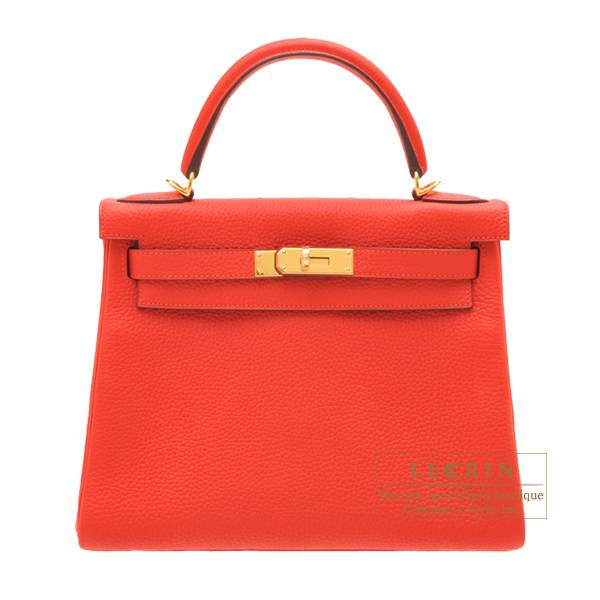 Hermes Kelly bag 28 Retourne Rouge tomate Clemence leather Gold hardware