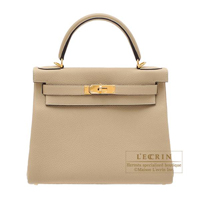 Hermes Kelly bag 28 Retourne Trench Togo leather Gold hardware
