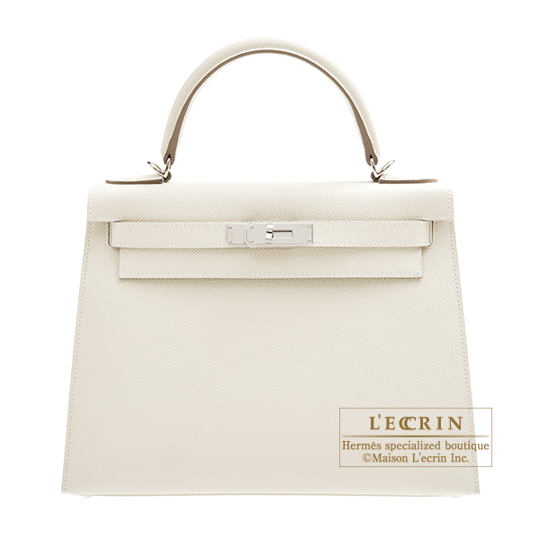 Hermes Kelly bag 28 Sellier Craie Epsom leather Silver hardware