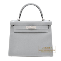 Hermes Kelly bag 28 Retourne Blue glacier Togo leather Silver hardware