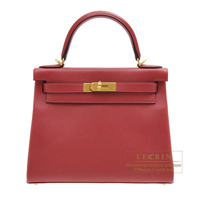 Hermes Kelly bag 28 Retourne Rouge grenat Evercolor leather Gold hardware