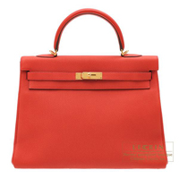 Hermes Kelly bag 35 Retourne Geranium Togo leather Gold hardware