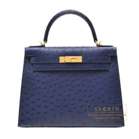 Hermes Kelly bag 28 Sellier Blue iris Ostrich leather Gold hardware