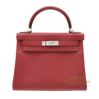 Hermes Kelly bag 28 Retourne Rouge grenat Togo leather Silver hardware