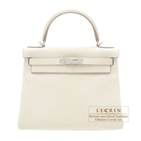 Hermes Kelly bag 28 Retourne Craie Togo leather Silver hardware