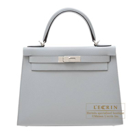 Hermes Kelly bag 28 Sellier Blue glacier Epsom leather Silver hardware
