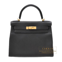 Hermes Kelly bag 28 Retourne Plomb Clemence leather Gold hardware