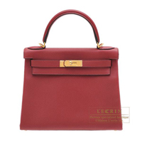 Hermes Kelly bag 28 Retourne Rouge grenat Togo leather Gold hardware