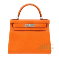 Hermes Kelly bag 28 Retourne Orange Clemence leather Silver hardware