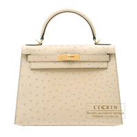 Hermes Kelly bag 28 Sellier Parchemin Ostrich leather Gold hardware