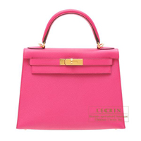 Hermes Kelly bag 28 Sellier Rose shocking Chevre myzore goatskin Gold hardware