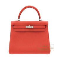 Hermes Kelly bag 25 Retourne Geranium Togo leather Silver hardware