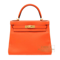 Hermes Kelly bag 28 Retourne Orange poppy Clemence leather Gold hardware