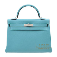 Hermes Kelly bag 32 Retourne Blue Saint-Cyr Clemence leather Silver hardware