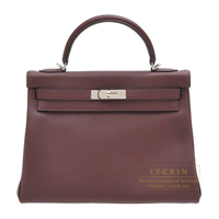 Hermes Kelly bag 32 Retourne Bordeaux Togo leather Silver hardware