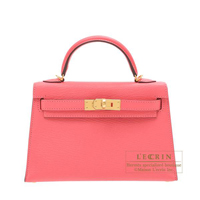 Hermes Kelly bag mini Sellier Rose lipstick Chevre myzore Gold hardware