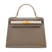 Hermes Personal Kelly bag 28 Sellier Etoupe grey/ Craie Epsom leather Matt gold hardware