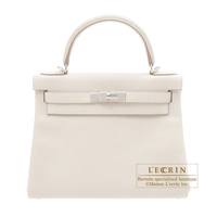 Hermes Kelly bag 28 Retourne Craie Clemence leather Silver hardware
