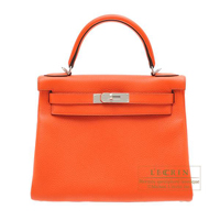 Hermes Kelly bag 28 Retourne Orange poppy Clemence leather Silver hardware
