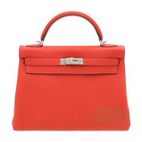 Hermes Kelly bag 32 Retourne Geranium Togo leather Silver hardware