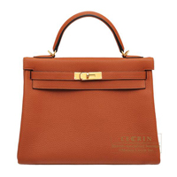 Hermes Kelly bag 32 Retourne Cuivre Togo leather Gold hardware