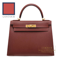 Hermes Kelly Contour bag 28 Sellier Rouge H/ Blue indigo Epsom leather Gold hardware