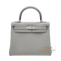 Hermes Kelly bag 25 Retourne Gris mouette Togo leather Silver hardware