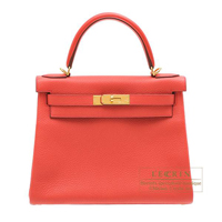 Hermes Kelly bag 28 Retourne Bougainvillier Clemence leather Gold hardware
