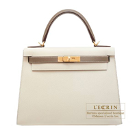 Hermes Personal Kelly bag 28 Sellier Craie/ Etoupe grey Epsom leather Gold hardware