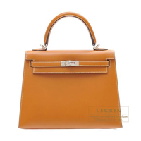 Hermes Kelly bag 25 Sellier Natural sable Butler leather Silver hardware