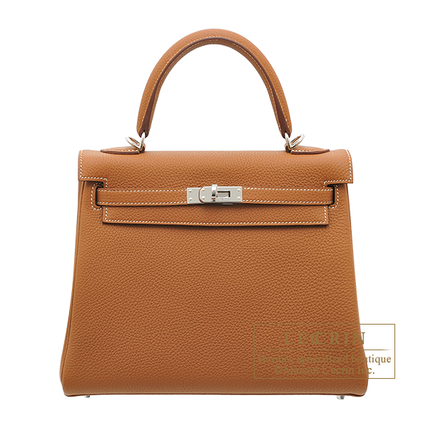 Hermes Kelly bag 25 Retourne Gold Togo leather Silver hardware