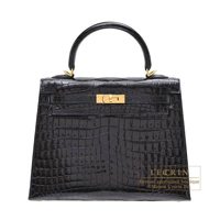 Hermes Kelly bag 25 Sellier Black Niloticus crocodile skin Gold hardware
