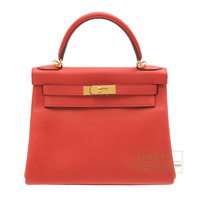 Hermes Kelly bag 28 Retourne Geranium Togo leather Gold hardware