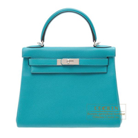 Hermes Kelly bag 28 Retourne Blue paon Clemence leather Silver hardware