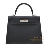 Hermes Kelly bag 28 Sellier Black Sombrero leather Silver hardware