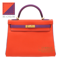 Hermes Personal Kelly bag 32 Retourne Capucine/ Anemone Togo leather Gold hardware
