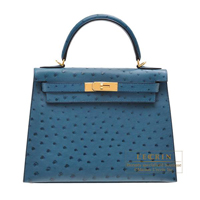Hermes Kelly bag 28 Sellier Cobalt Ostrich leather Gold hardware