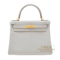 Hermes Kelly bag 28 Retourne Pearl grey Evercolor leather Gold hardware