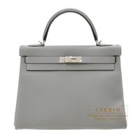Hermes Kelly bag 32 Retourne Gris mouette Togo leather Silver hardware