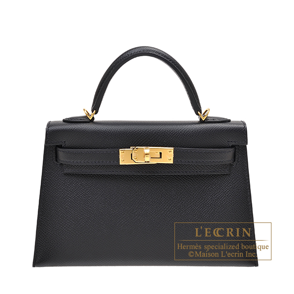 Hermes Kelly bag mini Sellier Black Epsom leather Gold hardware